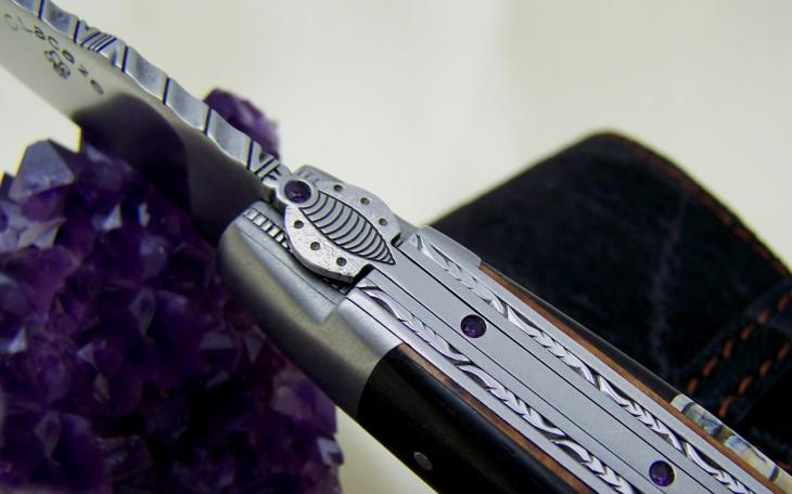 couteau laguiole 12 cm sertie d'améthyste