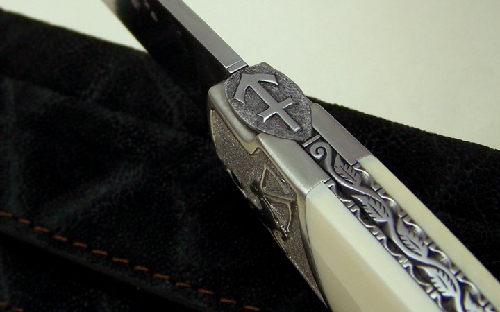 Sagittarius astral knife, forged leaf spring, fossil mammoth ivory handle