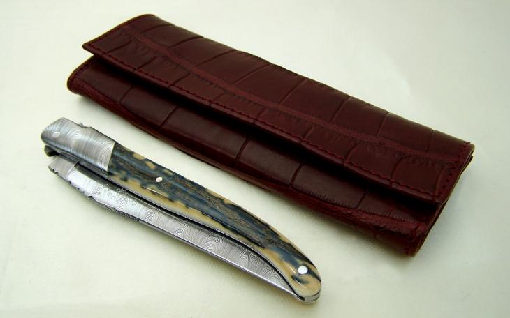 Couteau laguiole lame damas mosaïque,mitre en argent massif et molaire de mammouth