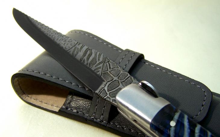Couteau Laguiole arbre de vie manche molaire de mammouth mitre avant la gravure du pelage