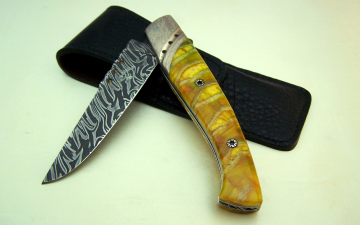 Knife CL03 mammoth molar handle, explosion damask blade, fine stone insert, onyx and citrine
