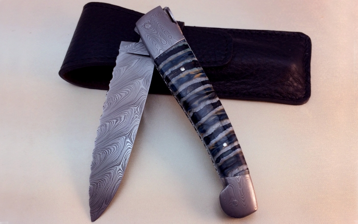 Art knife, caduceus, damascus steel, mammoth molar handle, damascus steel blade and bolsters, chiselled shield