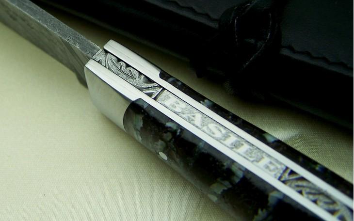 couteau Alpin lame damas inox manche en molaire de mammouth stabilisée